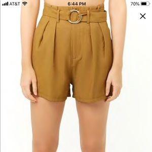 NWT Mustard Paperbag Waist Shorts